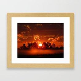 Flaming Horses over the Foggy Sunrise Framed Art Print