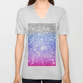 Galaxy Sparkle Stars Periwinkle Pink Unisex V-Neck