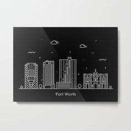 Fort Worth Minimal Nightscape / Skyline Drawing Metal Print
