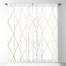Abstract Gold Geometric Pattern Art Deco Style Blackout Curtain