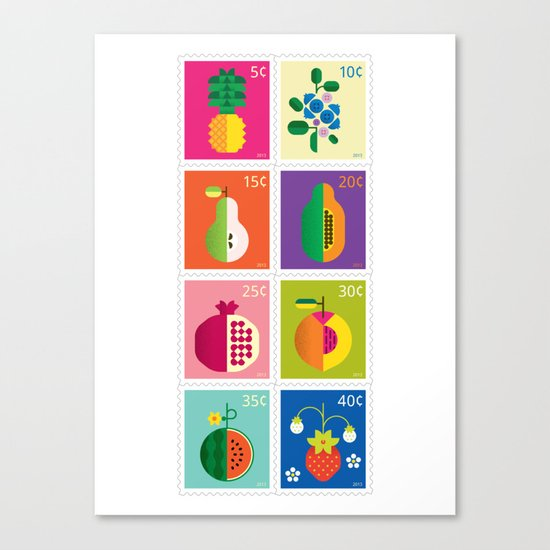 Fruit Stamps Canvas Print