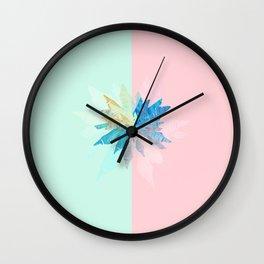 Floral Mint Pink Wall Clock