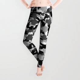 black and white Background Pattern Camo Leggings