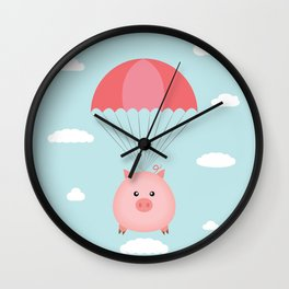 Baby Pig in a Parachute Wall Clock