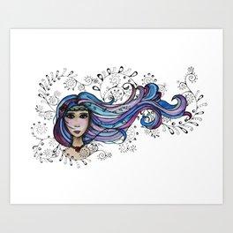 Wind Blown Girl by Heather Saulsbury  Art Print