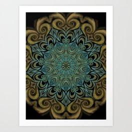 Teal and Gold Mandala Swirl Art Print