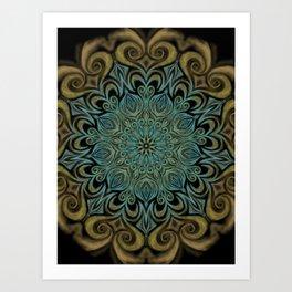 Teal and Gold Mandala Swirl Art Print