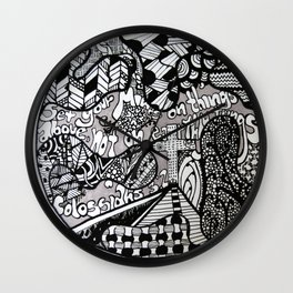 Black and White Biblical Zentangle Mandela Artwork with Colossians 3:2 Wall Clock