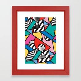 Colorful Memphis Modern Geometric Shapes Framed Art Print
