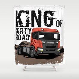 Dump Truck Dirty Road Shower Curtain