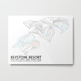 Keystone, CO - Minimalist Trail Map Metal Print