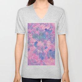 Pink Blue Mandala Watercolor floral Pattern Unisex V-Neck
