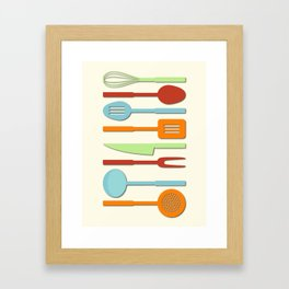 Kitchen Utensil Colored Silhouettes on Cream II Framed Art Print