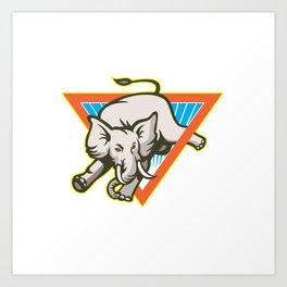 Elephant Jumping Bucking Triangl Art Print