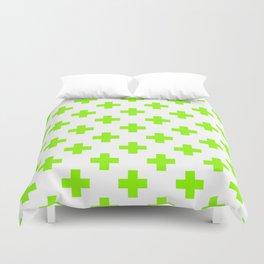 Lime Green Plus Sign Pattern Duvet Cover