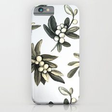 Pattern with mistletoe branches.  Watercolor iPhone 6s Slim Case