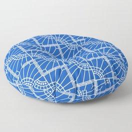 Blue Sapphire Peacock Feather Design Pattern Floor Pillow