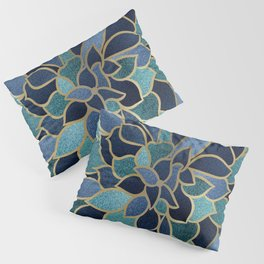 Festive, Floral Prints, Navy Blue, Teal and Gold Pillow Sham
