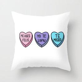 Valentine hearts bad Spanish Throw Pillow