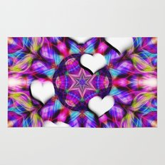 Floating hearts on abstract vibrant kaleidoscope Rug