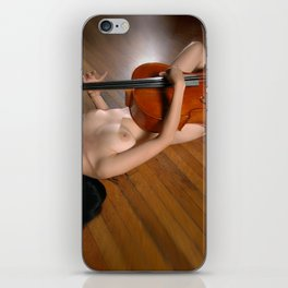 0149-JC Nude Cellist with Her Cello and Bow Naked Young Woman Musician Art Sexy Erotic Sweet Sensual iPhone Skin