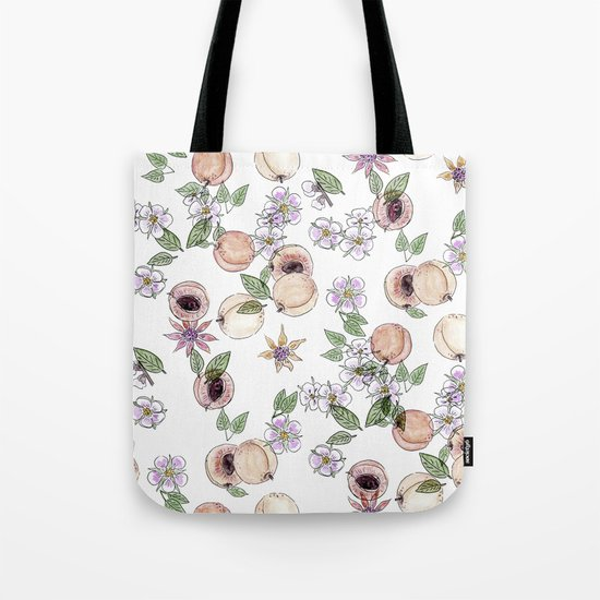 Watercolor pattern with apricots and flowers Tote Bag