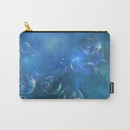 floating bubbles blue watercolor space background Carry-All Pouch