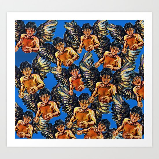 Angels meeting Art Print
