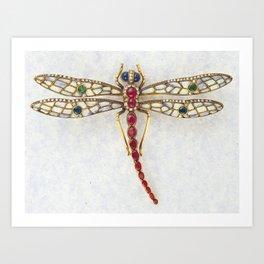 DRAGON FLY IN JEWELS Art Print