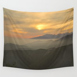 Sunset Over Mountains Wall Tapestry
