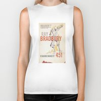 book cover Biker Tanks featuring Fahrenheit 451 Book Cover by proudcow