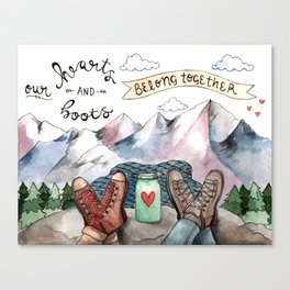 Hearts and Boots Canvas Print