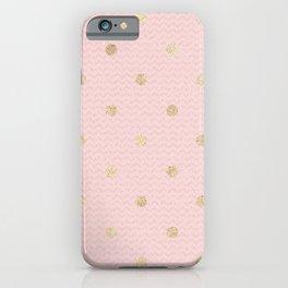 Elegant pink gold glitter geometric polka dots iPhone Case