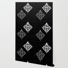 Scroll Damask Art I Black Grey White Wallpaper