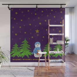 Sparkly gold stars, snowman and green tree on purple Wall Mural