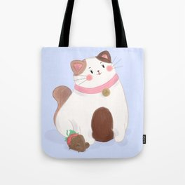 Cake and friend (blue) Tote Bag