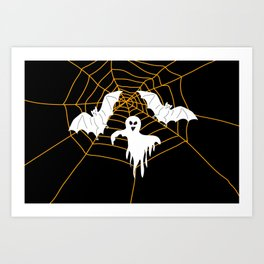 Bats and Ghost white - black color Art Print