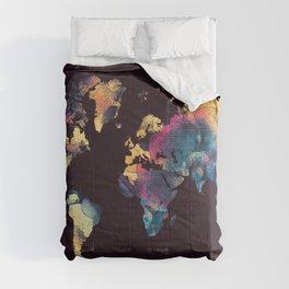 world map 79 yellow black Comforters