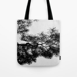 Pine Tree Black & White Tote Bag