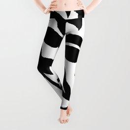 PALM LEAF VINE SWIRL BLACK AND WHITE Leggings