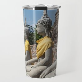 Row of Buddha statues, Ayutthaya, Thailand Travel Mug