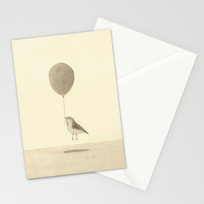 bird with a balloon Stationery Cards