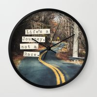journey Wall Clocks featuring Journey by Brandy Coleman Ford