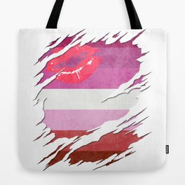 Lipstick Lesbian Pride Flag Ripped Reveal Tote Bag
