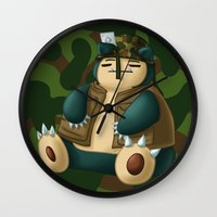 snorlax Wall Clocks featuring Warlax! by Kashidoodles Creations