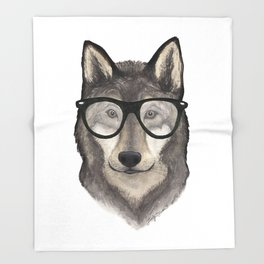 Hipster Wolf Throw Blanket