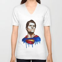 man of steel V-neck T-shirts featuring Man Of Steel by Aoife Rooney Art