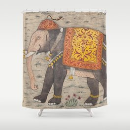 Vintage Decorated Elephant Painting (17th Century) Shower Curtain