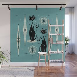 Mid Century Meow Retro Atomic Cats on Blue Wall Mural