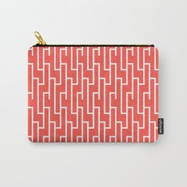 Red Aand White Latticework Pattern Carry-All Pouch
